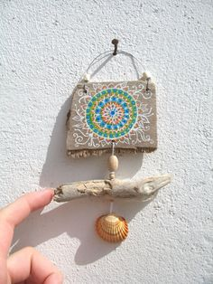 Painted Driftwood Mini Wall Hanging Mobile, Boho Mandala Pattern, Hand Painted Driftwood, Beach Decor, Hippy Art