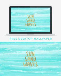 Free Sun Sand Waves Summer Desktop Wallpaper