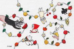 タイトル:フルーツブレスレット サイズ:170mm x 260mm  #micao_emboridery #新宿伊勢丹 #APJ #赤ずきんとおいしい友だち #embroidery