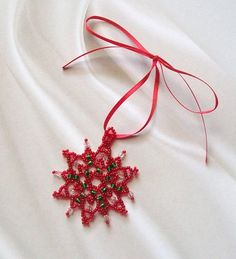 Red and Green Christmas Beaded Snowflake by silverliningdesigns6, $6.75