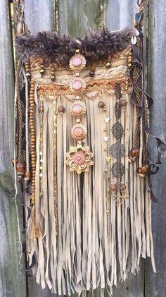 Handmade Tan Suede Leather Fringe Bag W/ Amber Boho Hobo Hippie OOAK Purse B.Joy  | eBay