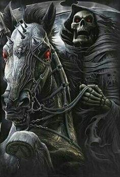 Dark art: Skeleton on Armoured Horse