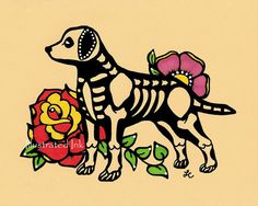 Dia de Los Muertos Hund LABRADOR Tag der Toten Art Print 5 x 7, 8 x 10 oder 11 x 14 - Wähle deine eigenen Worte - Spende an Austin Haustiere lebendig