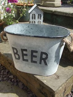 antique vintage metal zinc BEER ice bucket drinks holder wine cooler party BBQ?