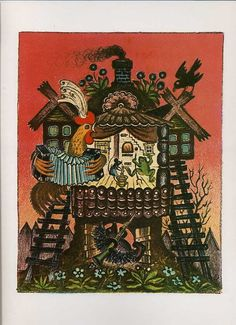 yuri vasnetsov - Google Search Homemade Art, Fairytale Art, House Drawing, Naive Art, Vintage Children's Books, Book Illustration, Illustrators, Folk Art, Fairy Tales