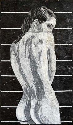 Naked woman marble mosaic mural decorative