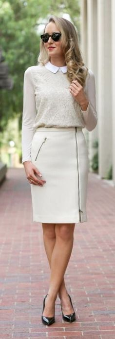 tone on tone : ivory zip pencil skirt, winter white lace top with white collar, beige faux fur vest