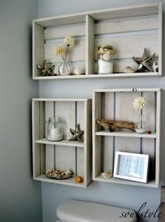 Rustic Beach Crate Wall Shelves