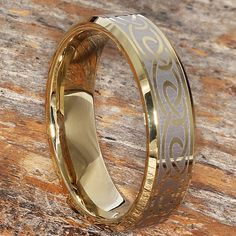 6mm Gold Wedding Band With Celtic Knotwork Tungsten Wedding