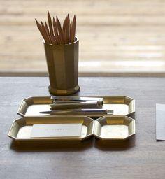 Futagami Brass Stationery Tray from Myth & Symbol