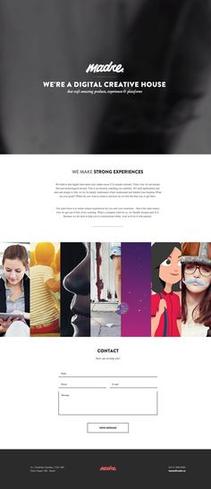 Responsive one page portfolio for digital agency, Madre Crossmedia, from Brazil. The one pager features an AJAX loading horizontal accordion for the portfolio section.
