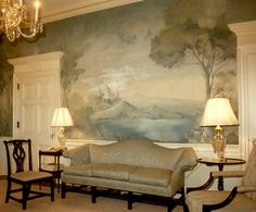 Wall mural by the now closed firm of G. Ceiling Murals, Wall Murals, Scenic Wallpaper, Wallpaper Murals, Dining Room Walls, Mural Painting, Beautiful Wall, Dream Rooms, Interior Design Living Room