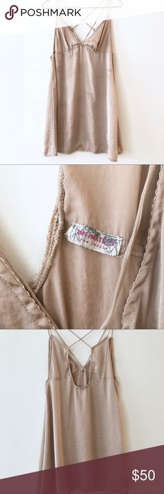 Free People Chemise Shiny cream, light gold. Super soft. So pretty. Perfect condition, worn only a few times. I wear as a nightgown or as cozy lingerie! Silk. Free People Intimates & Sleepwear Chemises & Slips