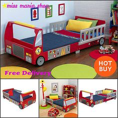 Boy Toddler Bed Fire Truck Red Storage Rail Sturdy Kidkraft First Single Bed Car | eBay