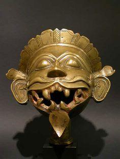 Bronze head of Bhairava, the terrific aspect of Shiva.MAHARASHTRA,INDIAXVII-XVIII CENTURY