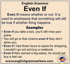 English Grammar – Using Even If, Definiton and Example Sentences Even if means. English Verbs, English Sentences, English Phrases, Learn English Words, English Study, Teaching English Grammar, English Writing Skills, English Language Learning, English Lessons