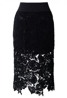 Floral and Leaves Crochet Pencil Skirt in Black
