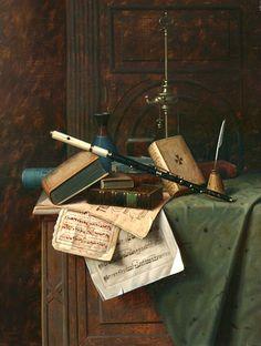 William Michael Harnett, Still Life with Flute, Vase and Roman Lamp. 1885