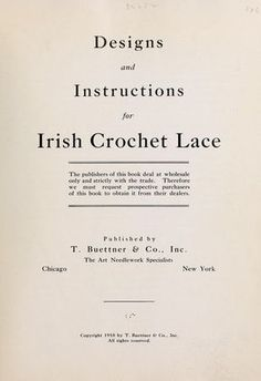 Designs and instructions for Irish crochet lace