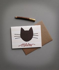 black cat coral . modern kitty notecard . meow . by BranchandOlive