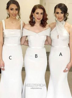 Prom Dress For Teens, Mermaid Square Neck Sweep Train Ivory Satin Bridesmaid Dress, cheap prom dresses, beautiful dresses for prom. Best prom gowns online to make you the spotlight for special occasions. White Bridesmaid Dresses Long, Bridesmaid Dresses Online, Cheap Prom Dresses, Homecoming Dresses, Wedding Dresses, Dress Prom, Long Dresses, Dress Long, Dress Vestidos
