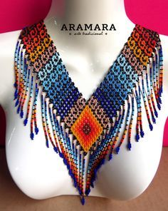 Mexican Huichol Beaded Tribal Necklace Mexican by Aramara Seed Bead Jewelry, Beaded Jewelry, Crochet Jewellery, Beaded Necklace, Beading Tutorials, Beading Patterns, Brick Stitch Earrings, Mexican Jewelry, Bead Loom Bracelets