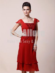A-line Square Tea-length Chiffon Mother of the Bride Dress - EveAllure - Love this one but not red but another color