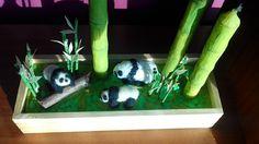Bosque de bambú con pandas