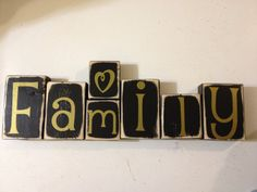 Family Wooden blocks home decor with vinyl by FayesAttic11 on Etsy, $22.00