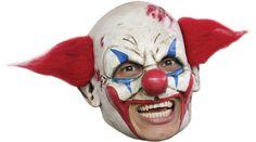 Deluxe Killer Clown Mask JESTER HORNS With Beard Fancy Dress Costume Halloween