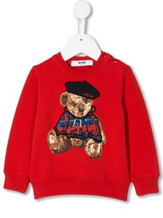 Shop Msgm Babies' Embroidered Teddybear Sweatshirt In Red from stores. Red stretch cotton embroidered teddybear sweatshirt from MSGM Kids featuring a ribbed round neck, long sleeves and a ribbed hem and cuffs. World Of Fashion, Kids Fashion, Fashion Design, Msgm Kids, Baby Design, Kids Outfits, Women Wear, Teddy Bear, Graphic Sweatshirt