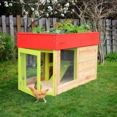 DIY Chicken Coop with Garden Bed on Top. Would like to minus the floor and add 2 wheels and a handle to be able to move it around on the grass. Could use potted Plants and put plastic down and a drainage pipe down the back end.