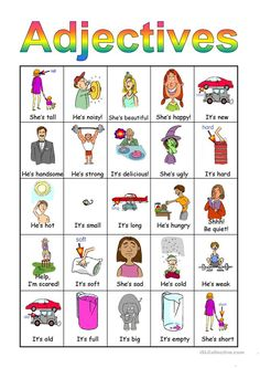 This is a set of 6 bingo cards plus the individual cards (which you will have to cut out). English Lessons For Kids, Kids English, English Adjectives, English Grammar, Adjective Anchor Chart, Describing Words, Bingo Set, Social Skills Autism, Nouns And Verbs