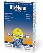 DieMeno Duplo está recomendado para mujeres que experimenten síntomas menopaúsicos o desarreglos menstruales    Ingredientes:    Cápsulas blancas: DieMeno Duplo aporta en esta cápsulas:  • Alga marina rica en Calcio (Lithothanium calcareum): esta alga calcárea es una fuente de calcio de fácil asimilación por su alta biodisponibilidad.  • Vitamina D y vitamina K: estas vitaminas ayudan respectivamente a la absorción y a la fijación del calcio al hueso.