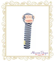 http://www.buttonbaby.com.au/alimrose-designs-hand-sqeaker-stripe-monkey-navy-p-2063.html - Alimrose Designs Stripe Monkey hand squeaker.  Cheeky monkey hand squeaker in navy and white stripe.  Approx 18cm