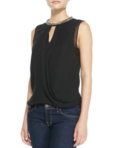 Bead-Neck Draped Georgette Top by Rebecca Taylor at Neiman Marcus.