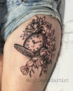 Antique Pocket Watch with flowers and roses. Black and Grey in a Pretty, Decorative style by Kylie Wild Heslop Canberra, Australia based tattoo artist. www.artgonewild.com.au