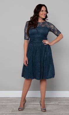 We can definitely envision Betty from Mad Men in this pretty blue number!  The Plus Size Luna Lace Dress by Kiyonna is aptly Crazy for Blue. #plussize #kiyonna