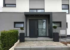 Canopy for entrance doors anthracite- Vordach für Haustüren anthrazit Canopy for entrance doors anthracite - House Design, Modern Entrance Door, Modern Exterior, House Architecture Design, House Exterior, Entrance Doors, External Doors, Front Door, Doors