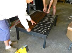 I have a crappy ikea table to try this with lol refashion a boring table into a Rustic Farmhouse Coffee Table DIY by Rachel Schultz Furniture Projects, Furniture Makeover, Diy Furniture, Business Furniture, Diy Projects, Bedroom Furniture, Ikea Makeover, Furniture Depot, Outdoor Furniture