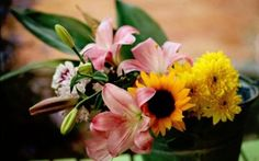 Preview wallpaper lilies, sunflowers, chrysanthemums, flowers, bouquet, bucket