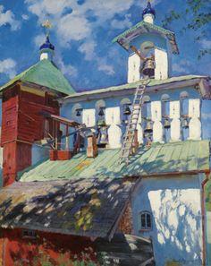 Sergei Arsen'evich Vinogradov (Russian 1869–1938)   [Peredvizhniki, Plein-air, Russian Impressionism] Звонница Псково-Печерского монастыря (The Belfry of the Pskovo-Pechersky Monastery), 1929.