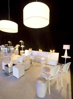 Lounges for the different patners for the airtel platinum we can use white ghost chairs, cubes and lighting