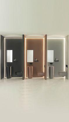 Noken Ceramic, the high-end ceramic range now comes in new colours: white matt, black matt, brown, grey and sand Wc Design, Toilet Design, Modern Design, Showroom Interior Design, Tile Showroom, Space Saving Bathroom, Small Bathroom, Bathroom Showrooms, Bathroom Interior