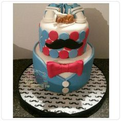 Mustache & bow tie themed cake