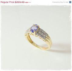 TANZANITE and DIAMOND Ring in 14k  BRILLIANT by PremierAntiquesNY
