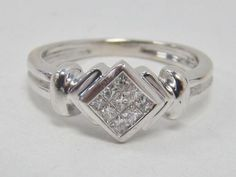 14K WHITE GOLD RING INVISIBLE SET PRINCESS CUT DIAMONDS 1/5 CT TW 4.1g SIZE 6.75 in Jewelry & Watches, Fine Jewelry, Fine Rings, Diamond | eBay
