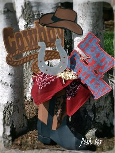 This Cowboy center piece is perfect for your cowboy themed birthday party! Its approx 2 ft. tall. The 3D cowboy boot is constructed out of card
