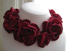 fabric flower necklace  Made To Order  scarlet red by RiRiFisch, $105.00