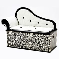 """Wild Side Bench/Toy Box with Storage features - Sophisticated """"fainting couch"""" design, Removable back, arm and seat cushions, Slow-closing metal safety hinge Kids Storage Bench, Storage Bench Seating, Toy Storage, Kids Bench, Seat Storage, Storage Ideas, My Princess, Modern Princess, Fainting Couch"""